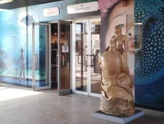 La statua della principessa maori collocata all'Acquario di Livorno