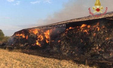 Capannone in fiamme a Collesalvetti